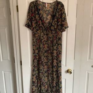 Xhiliration sheer floral dress overlay, tie waist